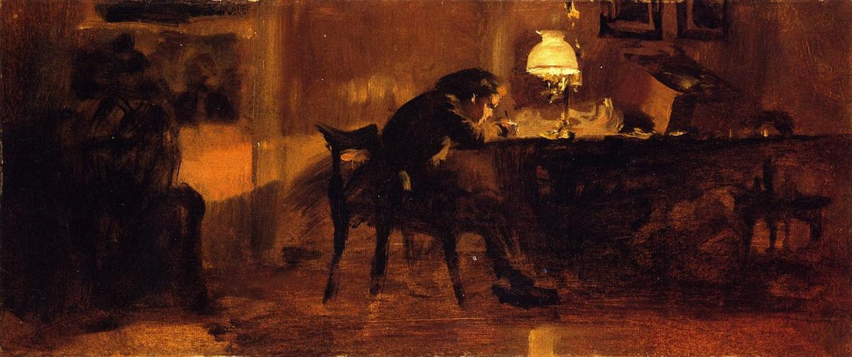Young Boy Sitting at a Table, Oil On Canvas by Adolph Menzel (1815-1905, Poland)
