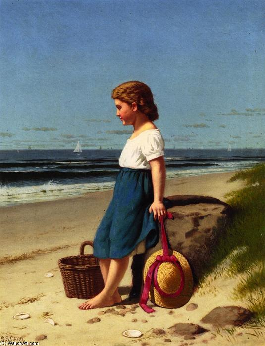 Young Girl at the Seashore, Oil On Canvas by Samuel S Carr (1837-1908, United Kingdom)