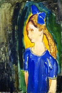 Alfred Henry Maurer - Young Girl with Blue Bow