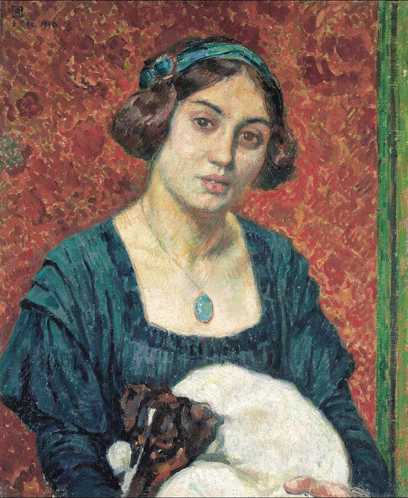Young lady with a dog, 1910 by Theo Van Rysselberghe (1862-1926, Belgium)