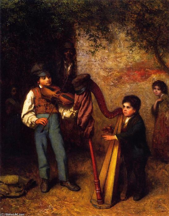 The Young Musicians, Oil On Canvas by Jonathan Eastman Johnson (1824-1906, United Kingdom)