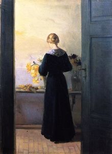 Anna Kirstine Ancher - Young Woman Arranging Flowers