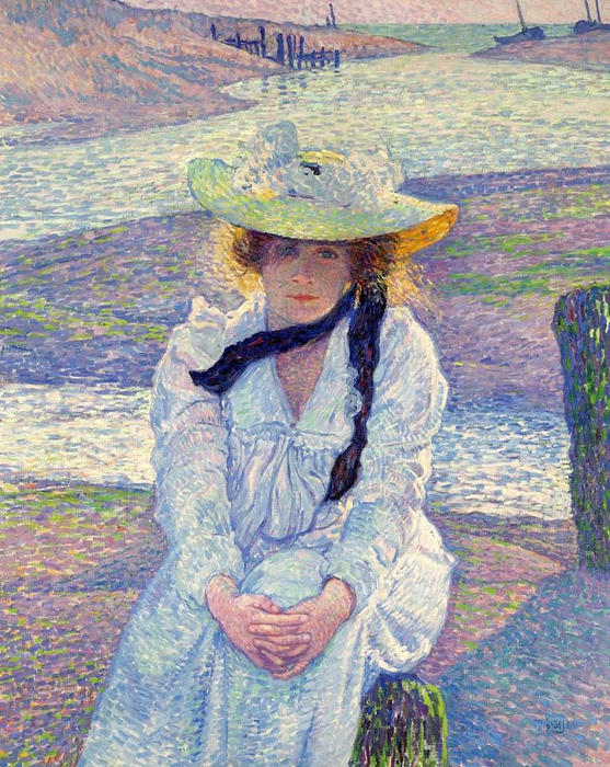 Young Woman on the Sand Shore, 1901 by Theo Van Rysselberghe (1862-1926, Belgium) | ArtsDot.com