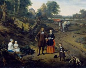 Adriaen Van De Velde - Portrait of a couple with two children and a nursemaid in a landscape (detail)