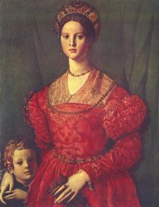 Agnolo Bronzino - Portrait of young woman with her son