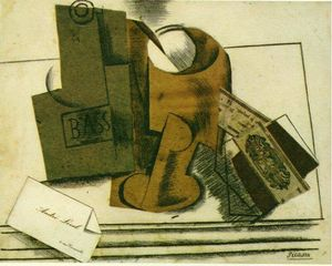Pablo Picasso - Bottle of bass, glass and package of tobacco