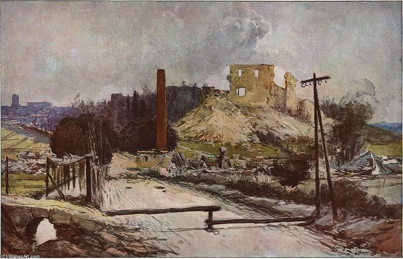Coucy-le-chateau Apres La Destruction Allemande by Francois Flameng (1856-1923, France)