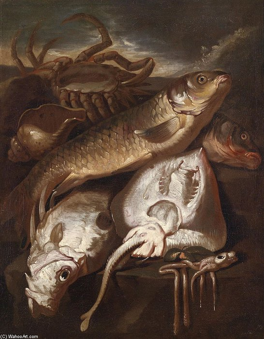 Fischstillleben, Ol Auf Leinwand by Giacomo Francesco Cipper (1664-1736, Austria) | Paintings Reproductions Giacomo Francesco Cipper | ArtsDot.com