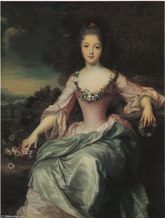 Portrait Of Marie Anne De Bourbon Conde by Gustaf Lundberg (1695-1786, Sweden)
