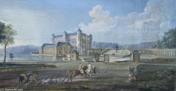 Le Chateau De Chantilly Au Xviiie Siecle by Jean Baptiste Lallemand (1716-1803, France)
