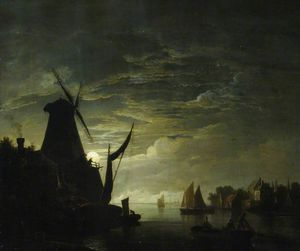 Abraham Pether - Moonlight Scene With A Windmill