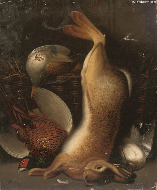 A Hare, Cock Pheasant And Woodcock, With A Partridge In A Basket by Benjamin Blake (1757-1830, United Kingdom)