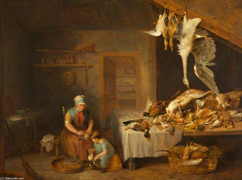 Game Herder With Dead Game, An Old Woman Plucking A Partridge And A Boy by Benjamin Blake (1757-1830, United Kingdom)