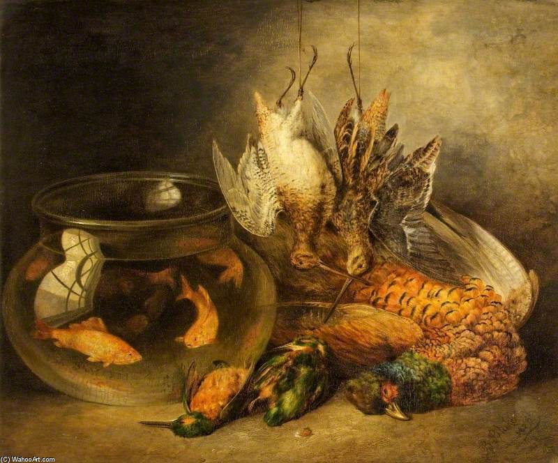 Still Life, Game And Hanging Snipe With Goldfish In A Bowl by Benjamin Blake (1757-1830, United Kingdom)