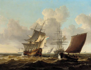 Charles Martin Powell - A Dutch Merchantman And Other Shipping Passing A British Frigate Anchored Off The Dutch Coast