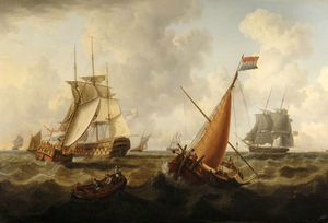 Charles Martin Powell - Dutch And British Men O- War Off The Coast, Dutch Boat In The Foreground