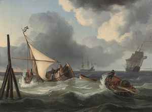 Charles Martin Powell - Fishermen Wrestling With The Swell At High Tide, Off The Mouth Of The Scheldt