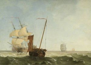 Charles Martin Powell - Sea Piece With War Vessels