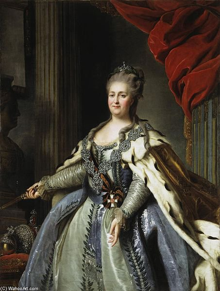 Portrait Of Catherine Ii Of Russia by Fyodor Stepanovich Rokotov (1730-1808, Russia) | Museum Art Reproductions Fyodor Stepanovich Rokotov | ArtsDot.com