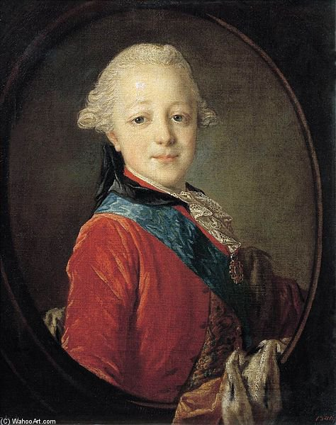 Portrait Of Emperor Paul I As A Child by Fyodor Stepanovich Rokotov (1730-1808, Russia) | Museum Art Reproductions Fyodor Stepanovich Rokotov | ArtsDot.com