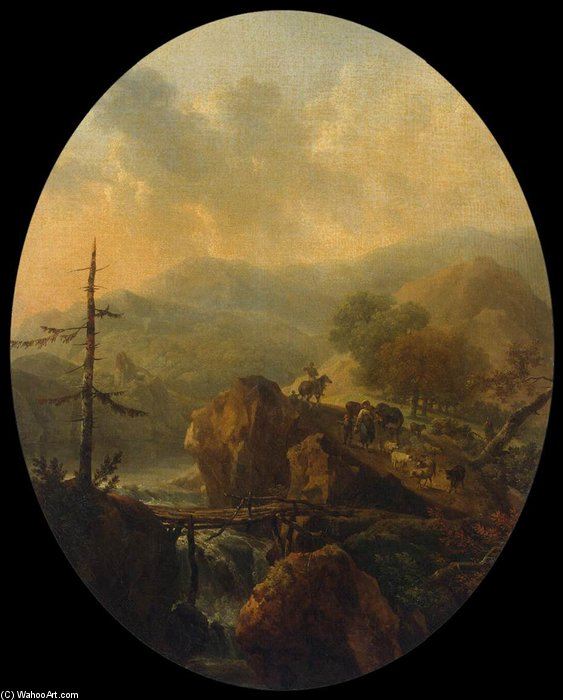 Order Museum Quality Reproductions : Mountain Landscape by Nicolas Antoine Taunay (1755-1830, France) | ArtsDot.com