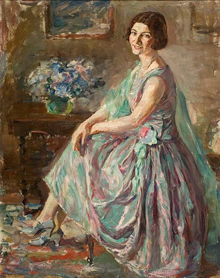 Lady In An Interior by Thalia Flora Karavia (1871-1960, Greece) | ArtsDot.com