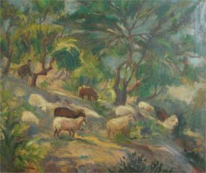 Thalia Flora Karavia - Sheep On A Slope