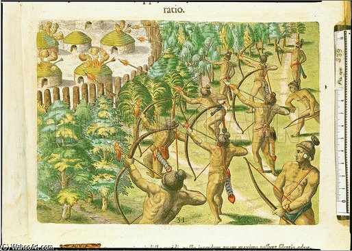 Attack On An Indian Village With Flaming Arrows by Theodore De Bry (1528-1598, Belgium) | Painting Copy | ArtsDot.com