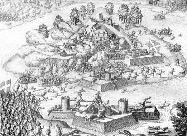Engraving Of The Massacre At Fort Caroline by Theodore De Bry (1528-1598, Belgium)