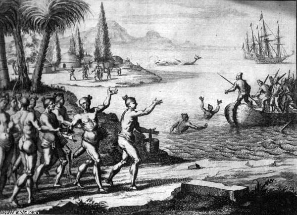 Lithograph Of The Timucua Greeting The French by Theodore De Bry (1528-1598, Belgium) | ArtsDot.com