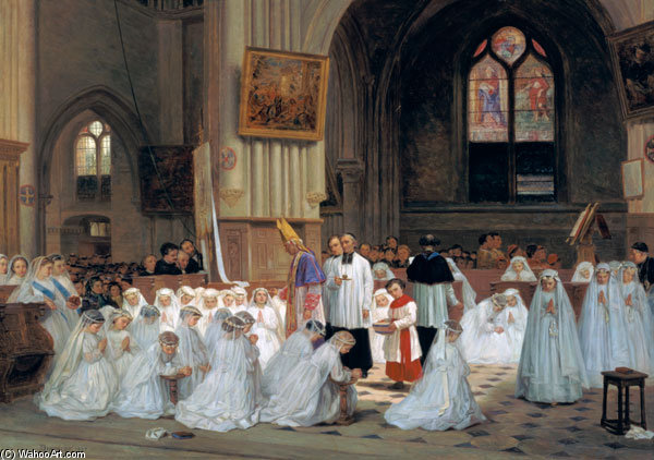 First Communion - by Theophile Emmanuel Duverger (1821-1901, France)