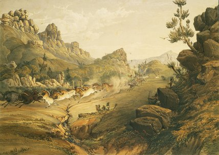 Bushmen Hunting A Herd Of Heterogenous Game by Thomas Baines (1820-1875, United Kingdom)