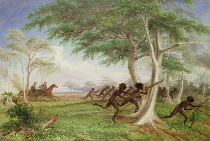 Dispersal Of Hostile Tribes Near Baines River by Thomas Baines (1820-1875, United Kingdom)
