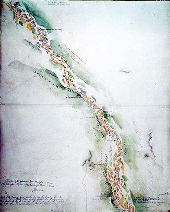 Map Of The Zambezi River Around Tete In Mozambique - by Thomas Baines (1820-1875, United Kingdom)