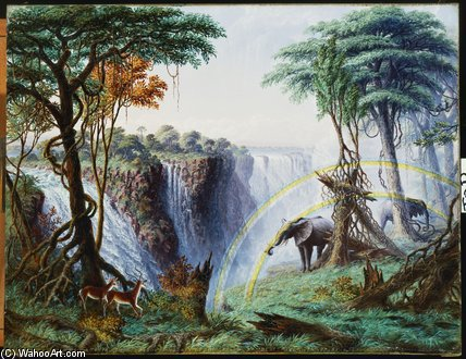 The Mosi-o-a-tunya Or Victoria Falls by Thomas Baines (1820-1875, United Kingdom)