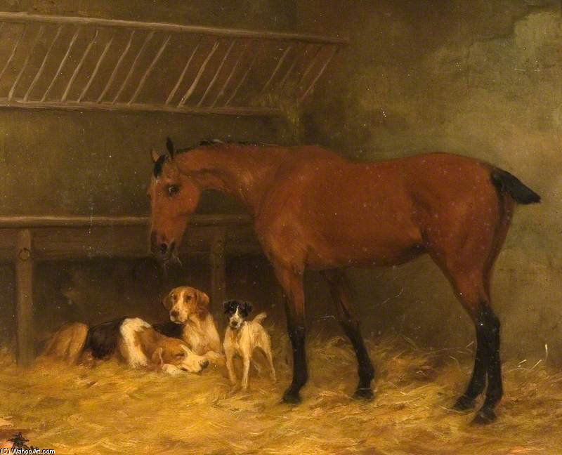 Little Bay Mare With Docked Tail Eating Hay With Three Dogs At Her Feet by Thomas Blinks (1860-1912, United Kingdom)