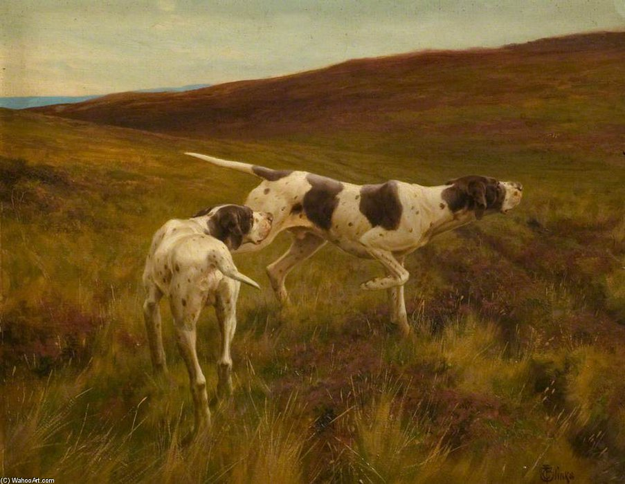 Pointers In A Landscape by Thomas Blinks (1860-1912, United Kingdom)