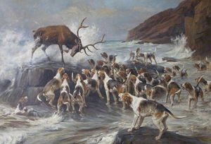 Thomas Blinks - Stag At Bay On A Rocky Shore