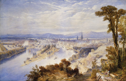 Rouen From St. Catherine's Hill - by Thomas Charles Leeson Rowbotham (1823-1875, United Kingdom)