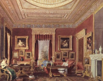 The Drawing Room, Leigh Court, Bristol by Thomas Charles Leeson Rowbotham (1823-1875, United Kingdom)