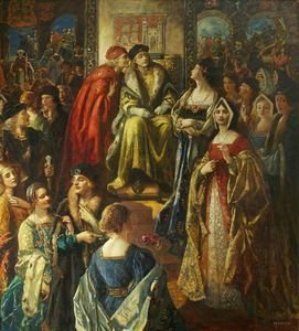 Thomas E Mostyn - King Henry Vii Fining The Citizens Of Bristol Because Their Wives Were So Finely Dressed
