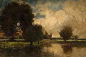 Thomas E Mostyn - Landscape With A Bridge
