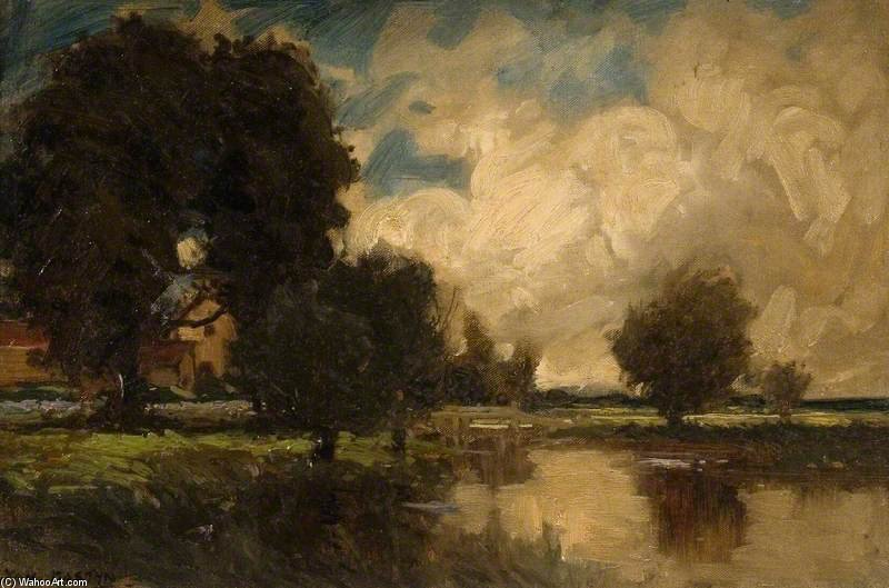 Landscape With A Bridge by Thomas E Mostyn (1864-1930) | Art Reproduction | ArtsDot.com