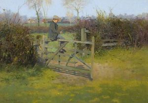 Thomas E Mostyn - Sitting On A Gate, Bushey