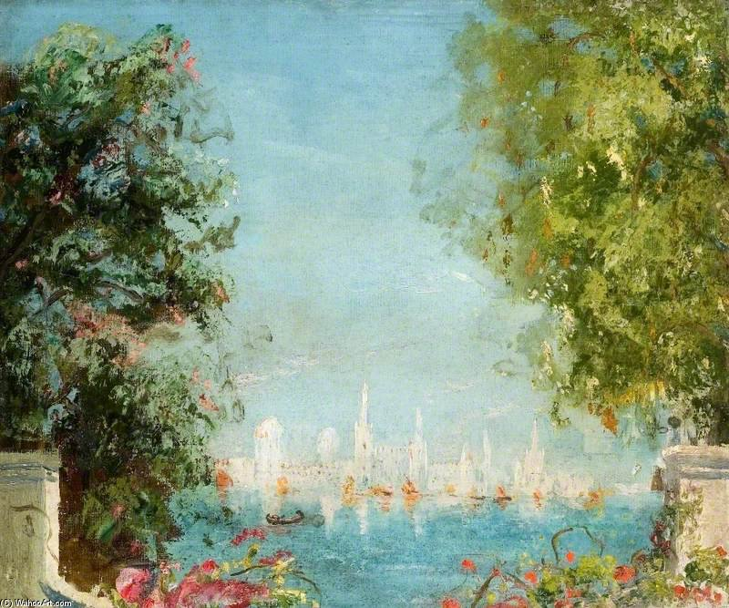 View Across A Lagoon Towards A City by Thomas E Mostyn (1864-1930) | Painting Copy | ArtsDot.com