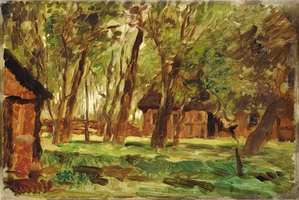 Farmstead Under Trees by Thomas Ludwig Herbst (1848-1915, Germany)