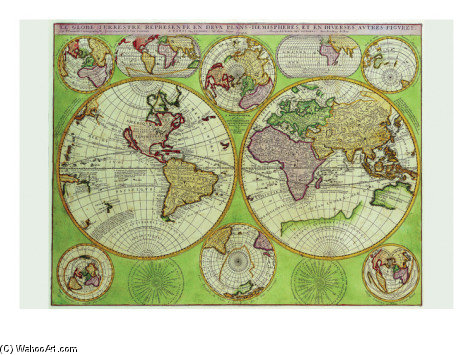 Coronelli Stereographic World Map With Insets Of Polar Projections by Vincenzo Maria Coronelli (1650-1718, Italy)