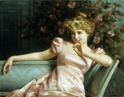 A Young Beauty, by Vittorio Reggianini (1855-1938, Italy)