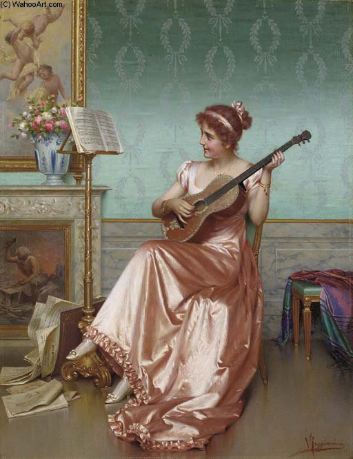 In The Music Room by Vittorio Reggianini (1855-1938, Italy)