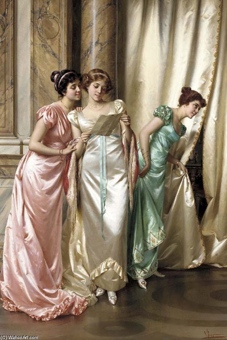 The Eavesdroppers by Vittorio Reggianini (1855-1938, Italy)